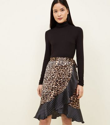 Pink Vanilla Leopard and Spot Print Satin Wrap Skirt
