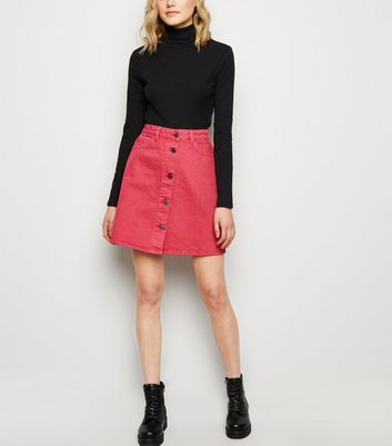Noisy May Bright Pink Denim Skirt