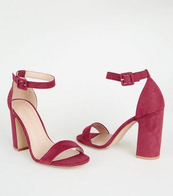 Deep Pink Suedette 2 Part Block Heels
