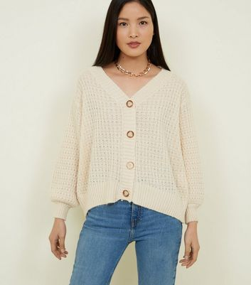 Cream Pointelle Knit Cardigan