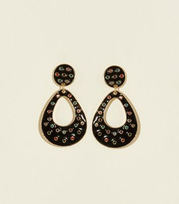 Black Rainbow Gem Oval Drop Earrings
