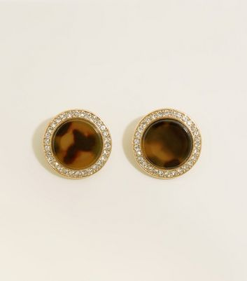 Dark Brown Faux Tortoiseshell Stud Earring