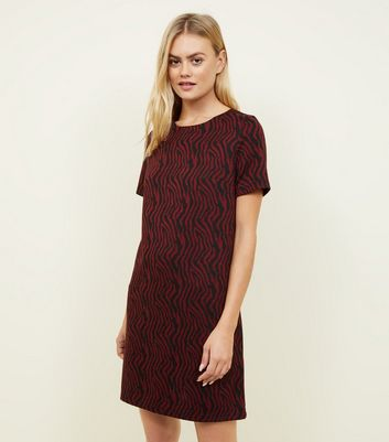 Red Zebra Jacquard Tunic Dress