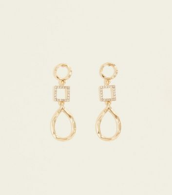 Gold Diamante Square and Beaten Teardrop Earrings