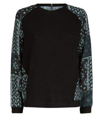 Apricot Black Paisley Patchwork Back Jumper New Look