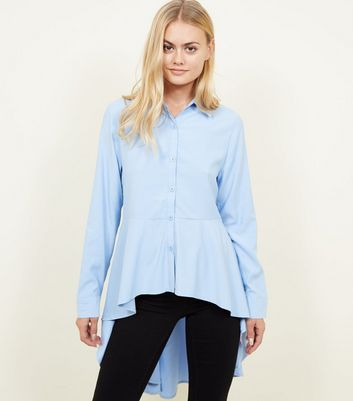 Apricot Blue Exaggerated Peplum Hem Shirt