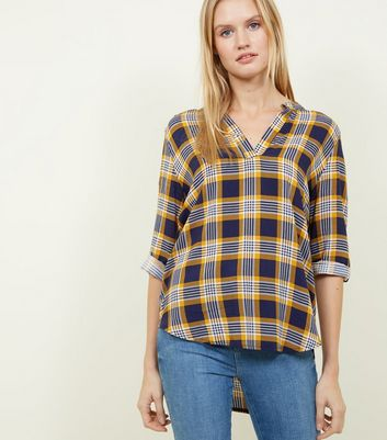 Apricot Blue Check V-Neck Shirt New Look