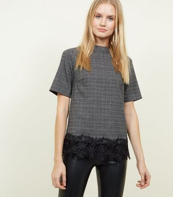 Apricot Black Check Lace Hem Boxy Top