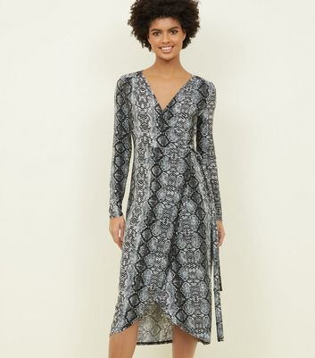 Blue Vanilla Grey Snake Print Mini Wrap Dress