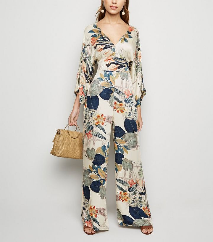 d558ac0cab2 Blue Vanilla Off White Floral Kimono Jumpsuit. Add to Saved Items
