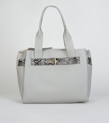 Grey Faux Snake Strap Tote Bag