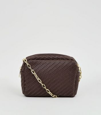 Brown Woven Cross Body Bag