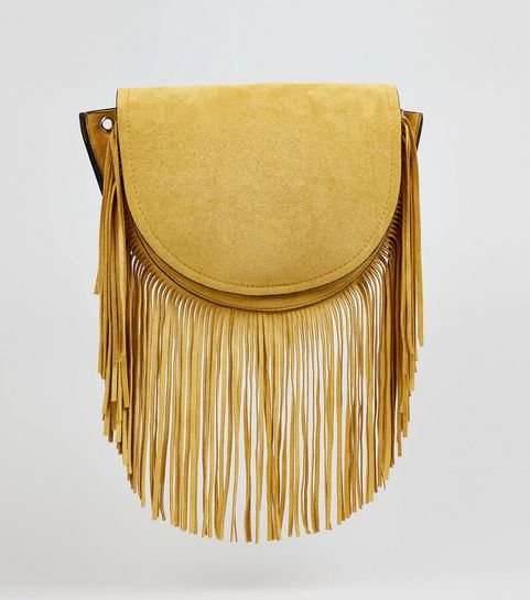 ... Yellow Suedette Fringe Cross Body Bag ... 73a249bea40ed