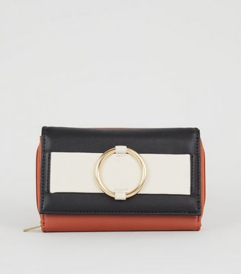 Black Colour Block Ring Front Purse