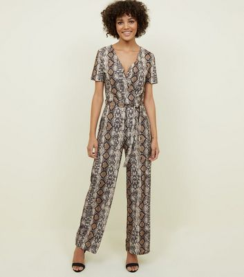 Cameo Rose Brown Snake Print Wrap Jumpsuit