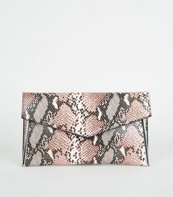 Pink Faux Snake Envelope Clutch