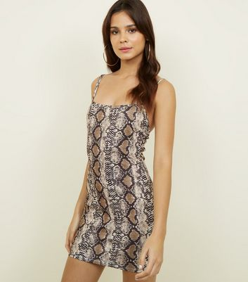 Cameo Rose Brown Snake Print Bodycon Dress New Look