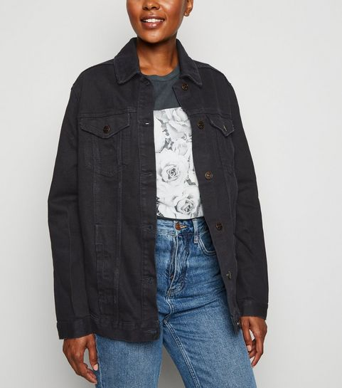 6eedb2e5b42e33 ... Black Oversized Button Up Denim Jacket ...