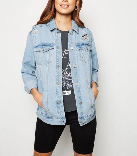 c2e9044d08f ... Bright Blue Oversized Button Up Denim Jacket ...