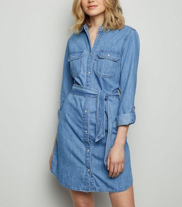 5ab58c330d Pale Blue Belted Denim Shirt Dress