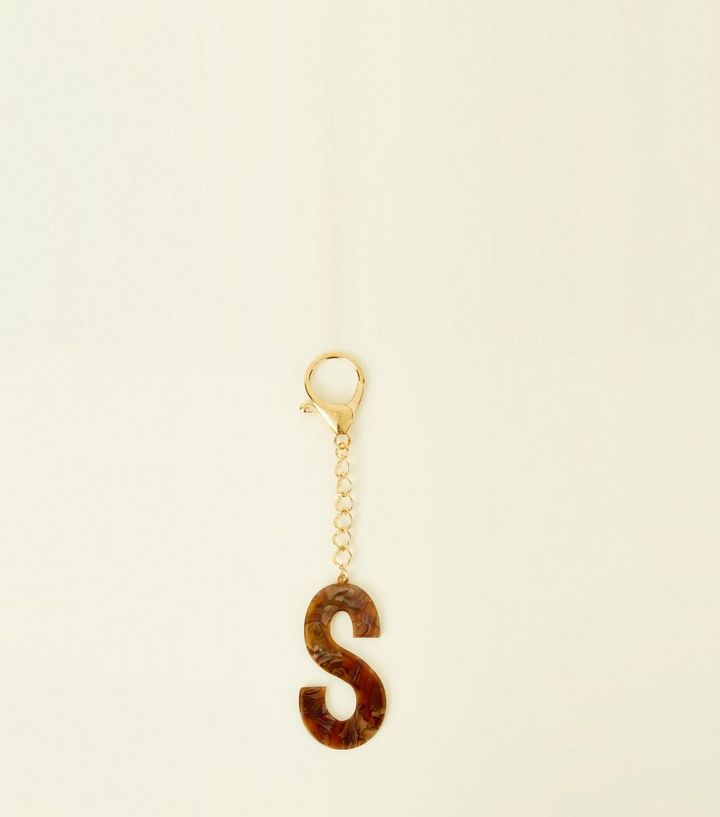 Brown Faux Tortoiseshell S Initial Keyring Add to Saved Items Remove from  Saved Items