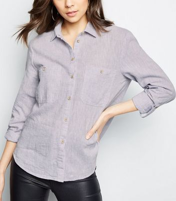 Grey Linen Blend Pocket Front Shirt