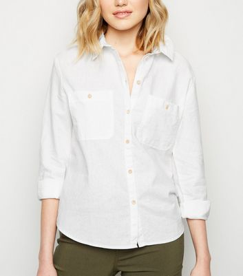 White Linen Blend Pocket Front Shirt