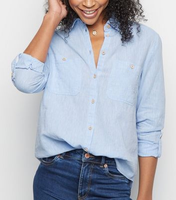 Blue Linen Blend Pocket Front Shirt