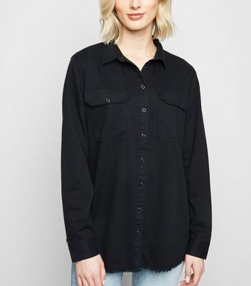 Black Fray Hem Oversized Shirt