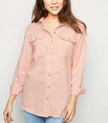 Pale Pink Fray Hem Oversized Denim Shirt
