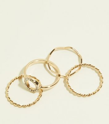 4 Pack Silver Twist Stacking Rings