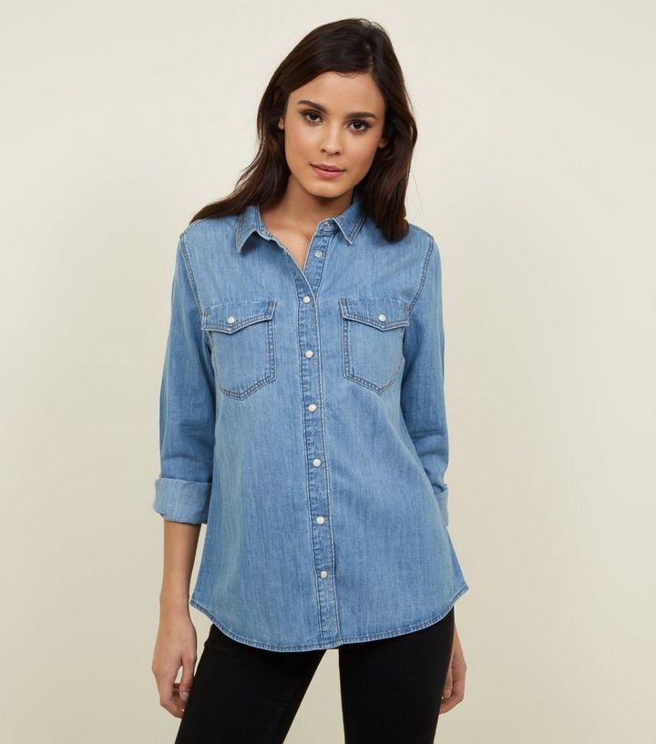 c0624fff67e Blue Pocket Front Denim Shirt