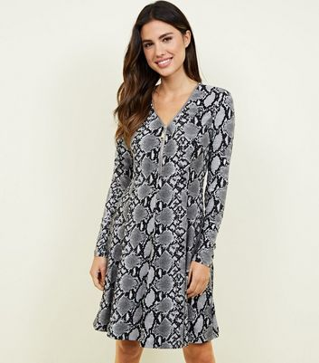 Light Grey Snake Print Soft Touch Swing Dress