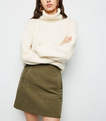Khaki Welt Pocket Corduroy Skirt