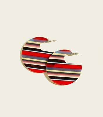 Red Stripe Acrylic Disc Earrings