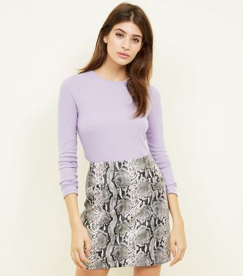 Lilac Ribbed Crew Neck Long Sleeve Top