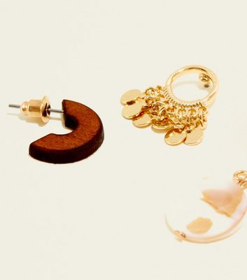 3 Pack Gold Wood and Shell Mini Hoop Earrings New Look