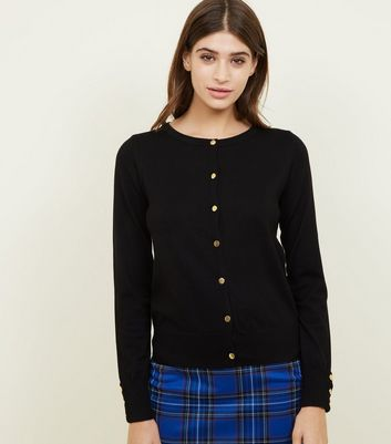Black Popper Front Ribbed Trim Cardigan
