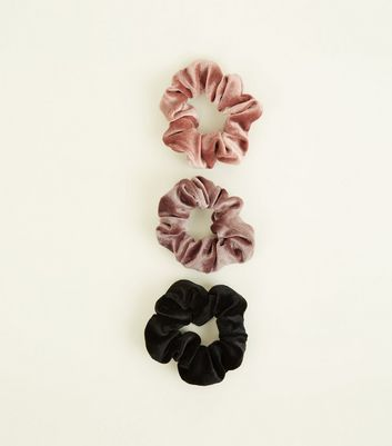 3 Pack Pink, Mink and Black Velvet Scrunchies