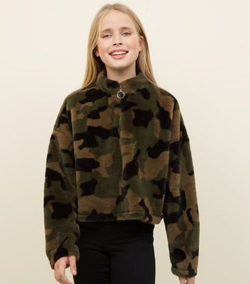 Girls Green Camo Faux Fur Zip Neck Sweatshirt