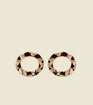 Gold Beaten Hoop Earrings