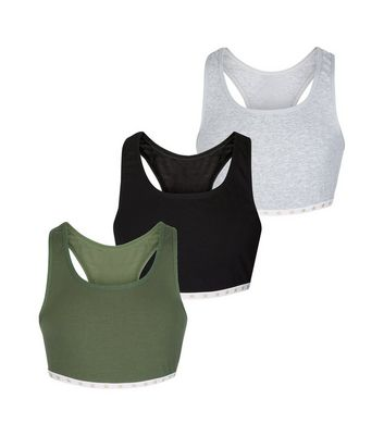 Girls 3 Pack Khaki Crop Top