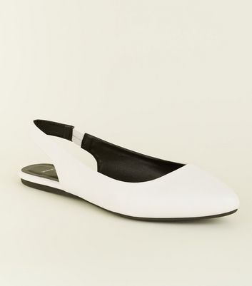 Wide Fit White Leather-Look Slingback Flats