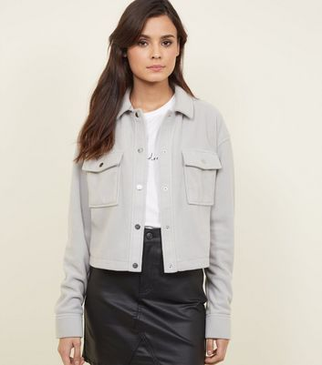 Pale Grey Fleece Utility Jacket