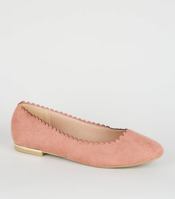 Wide Fit Pink Scallop Edge Ballet Pumps