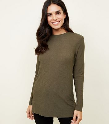 Khaki Long Sleeve Crinkle Tunic Top