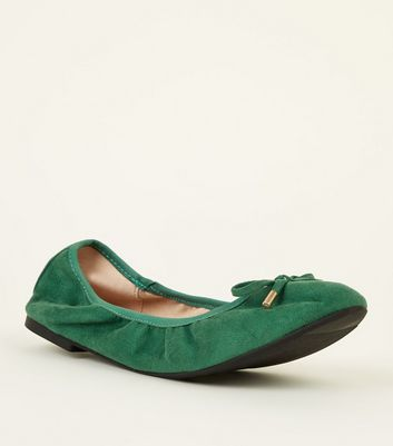 Wide Fit Dark Green Suedette Elastic Ballet Pumps