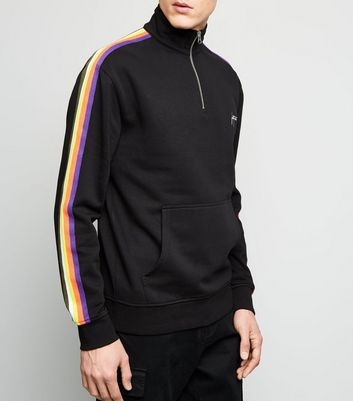 Black Rainbow Stripe Fortune Embroidered Sweatshirt
