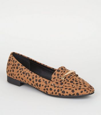 Wide Fit Brown Animal Print Bar Front Loafers