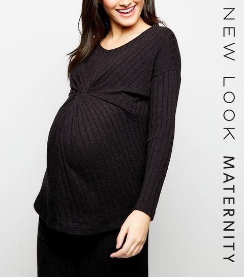 07deddbdbfb ... Maternity Black Rib Twist Front Top ...